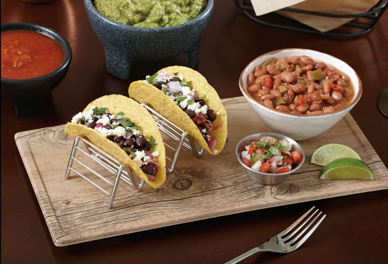 taco-holder-with-faux-wood-granville-melamine-board. & 5 Risks of Serving Food on Wood Boards and the Better Choice